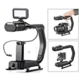 Sevenoak MicRig Handheld Stabilizer Handle Grip with Built-in Stereo Mic & SK-PL30 Video Led Lights for Skateboarding iPhone 8 8 plus 7 6 6s Smartphone GoPro Canon Nikon Sony RX0 DSLR Camera Camcorder