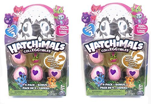 Hatchimals CollEGGtibles Season 2 - 4 pack + Bonus Bundle of TWO - Find the Golden Hatchimal! ()