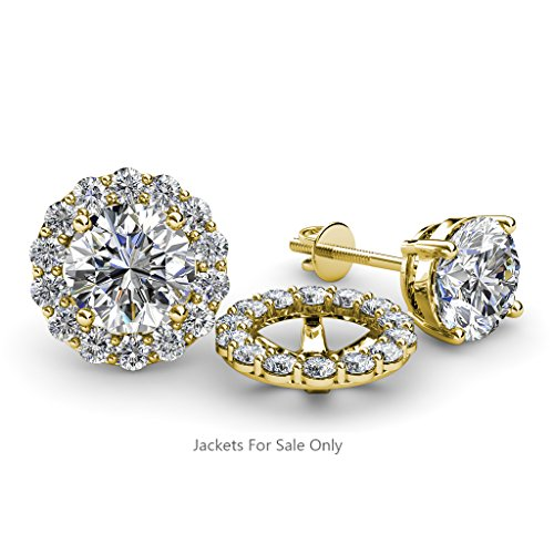 Halo Jacket for Stud Earrings 0.84 ct tw to 0.88 ct tw in 14K Yellow Gold.