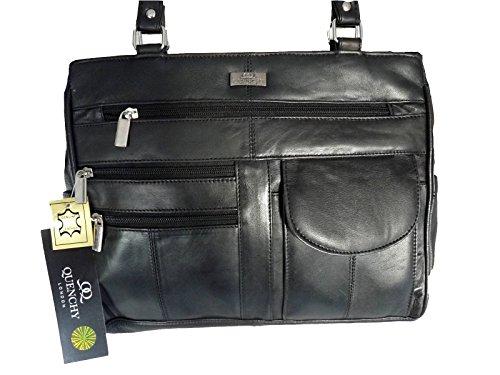 Damen Leder Handtasche Weichem Schwarzem Leder - Umhängetasche 2 Griffen - 8 Taschen - 2 Große Reißverschluss Hauptabschnitte - Mittlere Praktische Größe - Damen Handtaschen von Quenchy London QL173