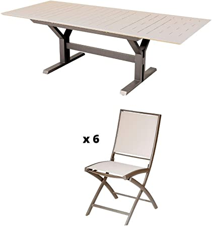 Les Jardins Ensemble Table de Jardin Beauty Muscade 160