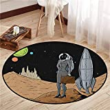Living Room Area Round Rugs,Astronaut,Business Woman in Space Briefcase Buying and Selling on Alien Planet,Ideal Gift for Children,3'7' Black Brown Multicolor