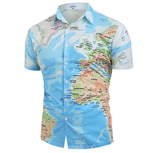 Dressin Men Casual Tops World Map Print Short Sleeve T Shirts with Button Laple Tees Shirt Top Blouse Blue