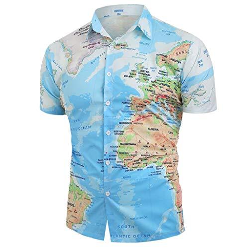 Landscap_Men Casual Shirts World Map Print Tops Blouse Shirt with Button (Blue,XXL)