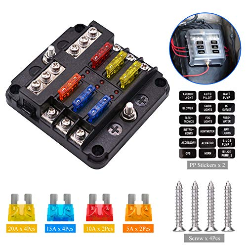 Extractme 12V 6-Way Blade Fuse Box Holder with 10Pcs Fuse, Fuse Box Block with LED Indicator Durable Protection Cover and Sticker Label for Automotive Car Boat SUV BUS Subway and Yacht