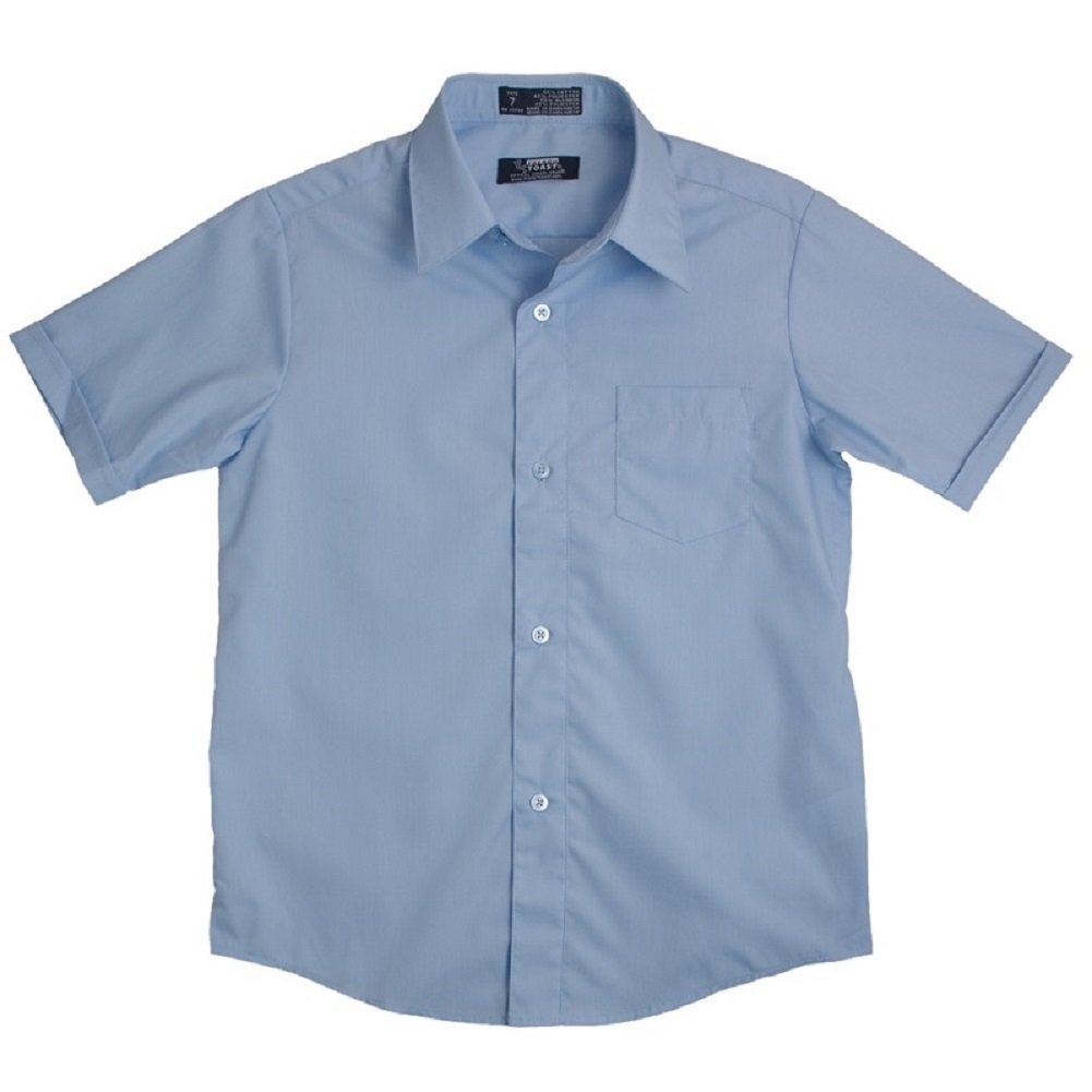 French Toast Big Boys' Short Sleeve Dress Shirt With Expandable Collar (Light Blue 20)