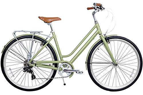 Gama Bikes Metropole Women 28-Inch Step Thru 8 Speed Shimano Hybrid Urban Commuter Road Bicycle, 19-Inch, Jade Green Special Offers