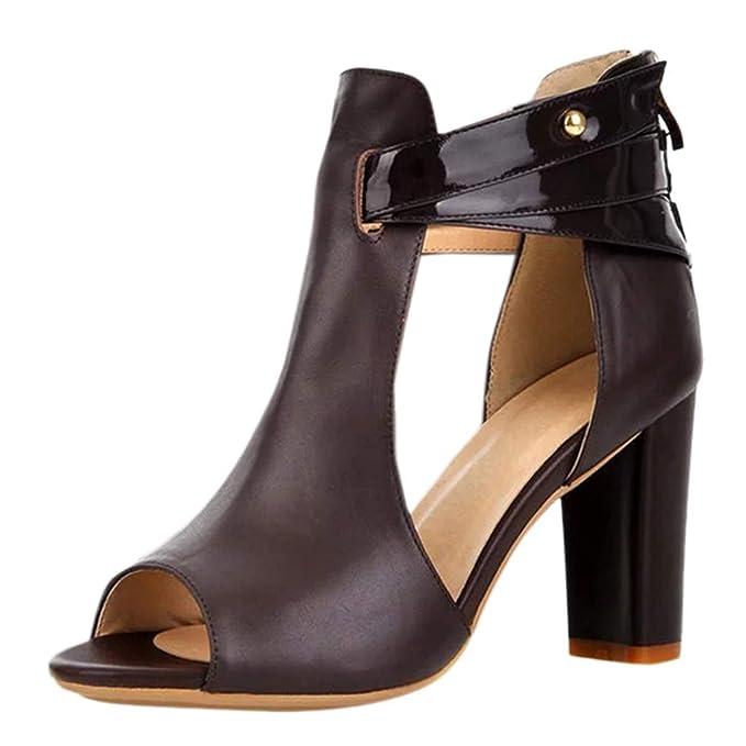 feba8a4f6a Tacones Altos para Mujer Tacones Altos Sandalias de Punta Abierta para Mujer  Sandalias con Cremallera de tacón Alto para Mujer Zapatos con Personalidad  ...