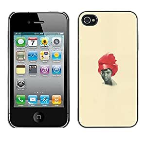 Colorful Printed Hard Protective Back Case Cover Shell Skin for Apple iPhone 4 / iPhone 4S / 4S ( African American Woman Black Red Hair Art )