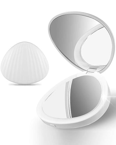 Ulinek Espejo con 13Leds para Maquillaje Portátil, Espejo de Bolsillo Compacto con Aumento de 1X/5X Plegable Espejo de Mano Doble para Viaje, Regalos ...