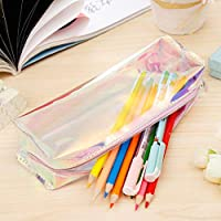 R H lifestyle Transparent Waterproof Sparkle Cover Laser Holographic Water Filled Glitter Multipurpose Pencil Zipper Pouch Organizer Best as Return Gift (Print Transparent Laser)