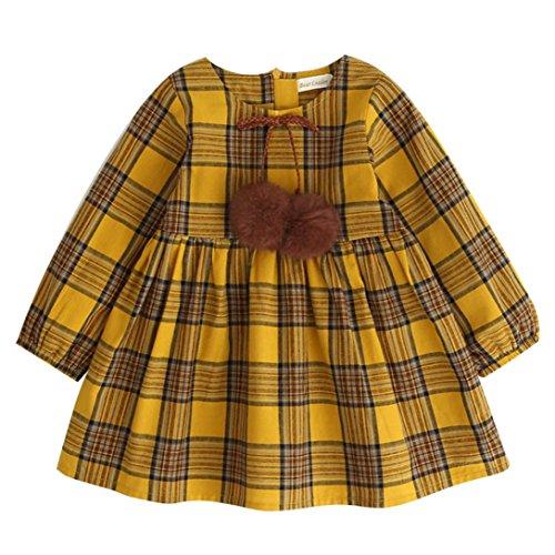 Toddler Girls Dresses, Inkach Baby Girls Long Sleeve Plaid Printed Bowknot Party Princess Dress (Yellow, 120)