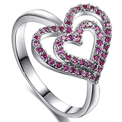 Muiane 925 Sterling Silver Created Garnet Filled Open Heart Promise Ring -