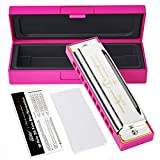 Eastar Major Blues Harmonica 10 Holes C Key Beginner Harmonica For Kid and Adult With Hard Case And Cloth, Pink