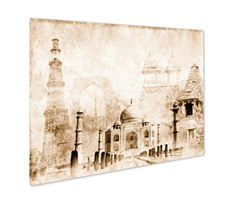 (Ashley Giclee Grunge With Paper And Landmarks Of India, Wall Art Photo Print On Metal Panel, Sepia, 8x10, Floating Frame, AG5951974)
