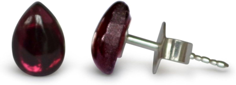 Pendientes de granate, natural, rojo, gotas, 7x5 mm, plata 925