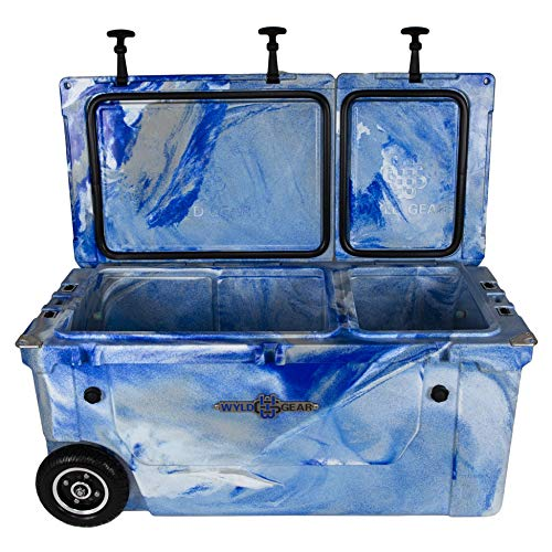 (WYLD 75 Quart Dual-Compartment Insulated (Marine Blue) Cooler w/Wheels & Tap Kit! Aerator Port Kit & Rod Holder Available for Camping Fishing Boating & Tailgating)