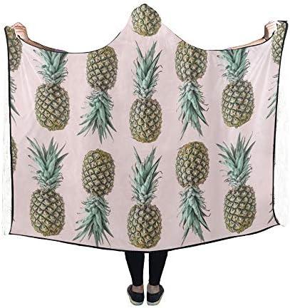 Rtosd Couverture à Capuche Pineapple Blush Pastel Couverture 60x50 Pouces Comfotable Wrap à Capuche