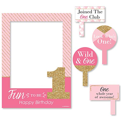 Big Dot of Happiness 1st Birthday Girl - Fun to be One - First Birthday Party Selfie Photo Booth Picture Frame & Props - Printed on Sturdy Material