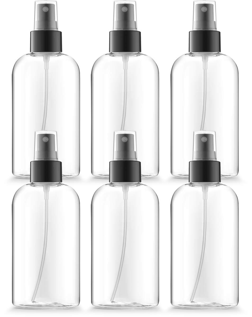 8 oz Boston Round clear plastic bottles, Black Fine Mist sprayers, BPA Free PETE1, Pack of 6 by Bar5F