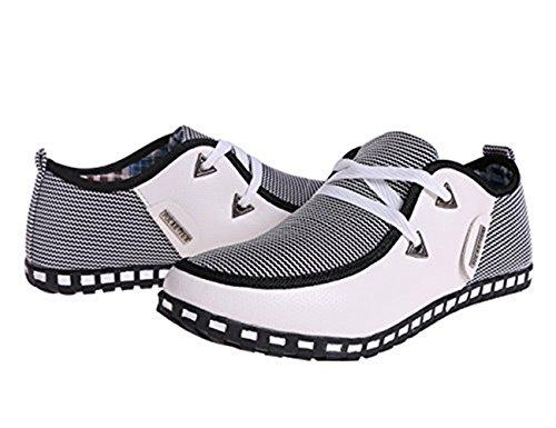 Mocasines Casual bajo Zapatos Up Plano Blanco Lace Cuero Lona Corte de Hombre Conducción LIEBE721 xZIqpwB