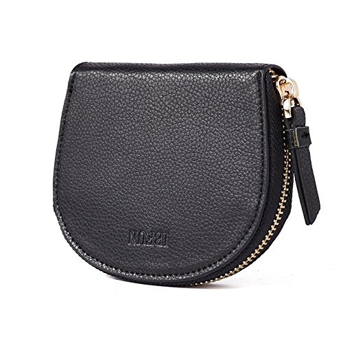 Credit Card Holder for Women, IBFUN Leather Wallet with RFID Blocking Small Accordion Wallet Black -