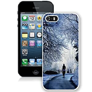 NEW Unique Custom Designed iPhone 5S Phone Case With Winter Road Scene_White Phone Case