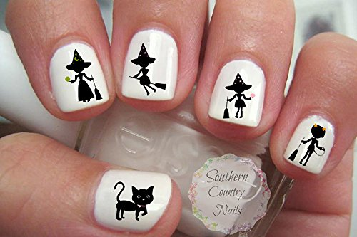 Witch Silhouette Halloween Nail Art Decals]()
