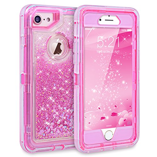 iPhone 7 Case, iPhone 6S Case, Dexnor Glitter 3D Bling Sparkle Flowing Liquid Case Transparent 3 in 1 Shockproof TPU Silicone Core + PC Frame Case Cover for iPhone 7/6s/6 - Pink