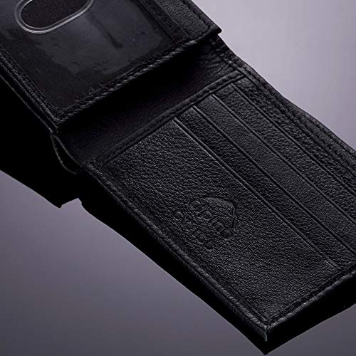 alpine swiss Men's Genuine Leather Wallet Slim Flip-out Bifold, Black, One Size