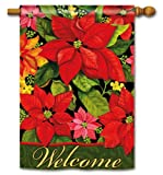 Poinsettia Welcome 2-Sided Garden Flag