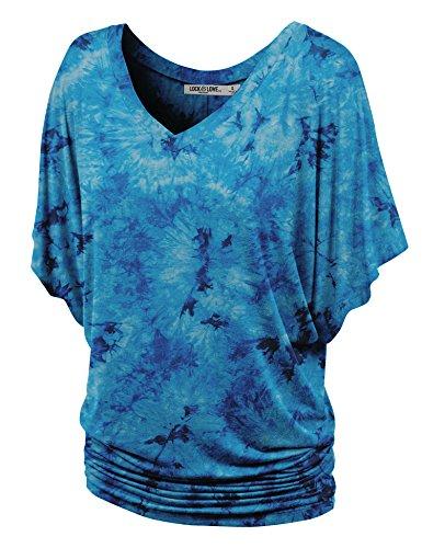 (WT1116 Womens V Neck Short Sleeve Tie Dye Drape Dolman Top XXL TEAL)