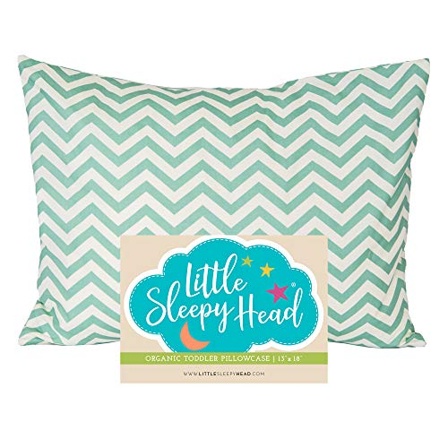 Little Sleepy Head Toddler Pillowcase 13x18-100% Organic Cotton & Hypoallergenic - Chevron Teal
