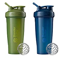 Blender Bottle Classic Loop Top Shaker Bottle, 28-Ounce 2-Pack, Moss/Moss and Navy/Navy