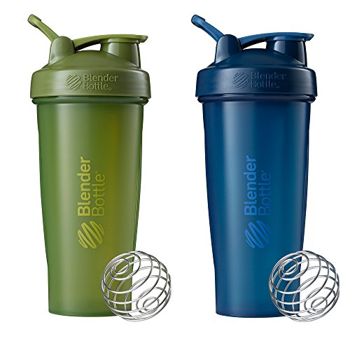 Blender Bottle Classic Loop Top Shaker Bottle, 28-Ounce 2-Pack, Moss/Moss and Navy/Navy