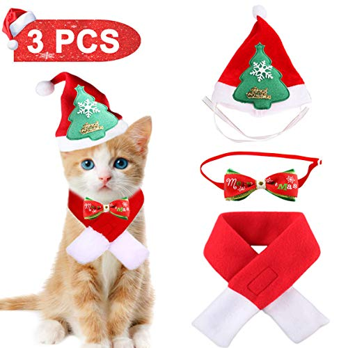 Lovinouse Pet Christmas Costumes, Cat Dog Christmas Hat Scarf and Collar Bow Tie, Xmas Gift for Kitten and Puppy Cosplay New Year Dressing up Party (Christmas For New Kitten)