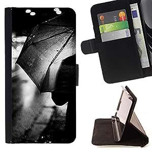 Momo Phone Case / Flip Funda de Cuero Case Cover - Rain City Lights Negro Blanco - Sony Xperia Z5 Compact Z5 Mini (Not for Normal Z5)