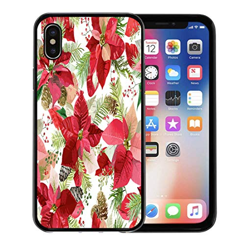 - Semtomn Phone Case for Apple iPhone Xs case,Branch Christmas Winter Poinsettia Flowers Floral Pattern in Celebration Cone for iPhone X Case,Rubber Border Protective Case,Black