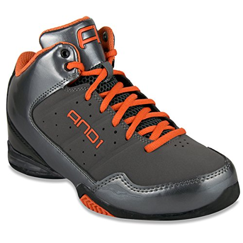 And1 Menns Mester Midten Basketball Sko Asfalt / Black / Orange