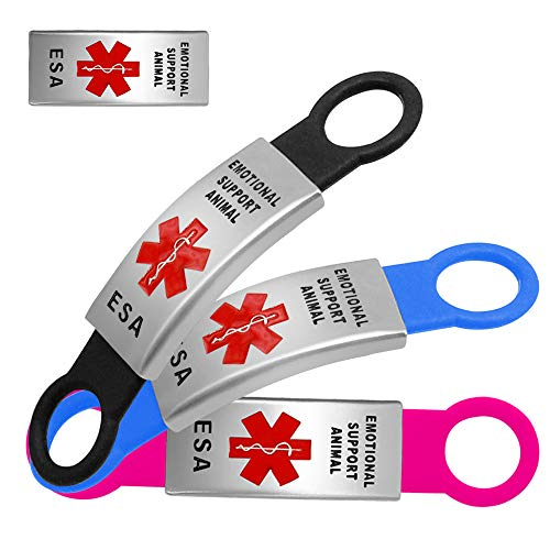 Beirui ESA Pet ID Tags for Dog & Cat Collars - Stainless Steel Slide-on Pet ID Tags - No Noise Collar Tags for Small Dogs and Kitten Cats - 2 Set Rubbers as Gifts from Beirui