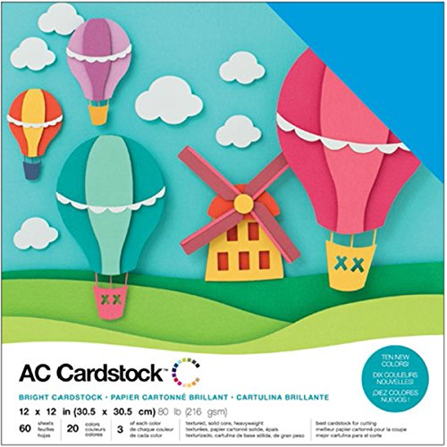 American Crafts Variety Pack Brights 60 Sheets of 12 x 12 Inch Cardstock (Ac Cardstock Pack)