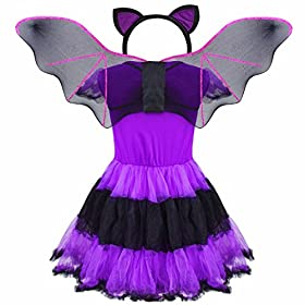 - 51W 2B2hk8z8L - FEESHOW Kids Girls Bat Wings Halloween Costume Cosplay Outfit with Cat Ear Headband Set