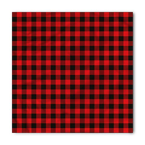 Plaid Bandana by Ambesonne, Lumberjack Fashion Buffalo Style Checks Pattern Retro Style with Grid Composition, Printed Unisex Bandana Head and Neck Tie Scarf Headband, 22 X 22 Inches, Scarlet Black from Ambesonne