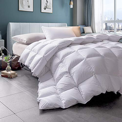 WENERSI White Goose Down Comforter,Beautiful Pinch Pleat,1000Thread Count 100% Egyptian Cotton Fabric,All Season Queen Comforter (King(Down Alternative))
