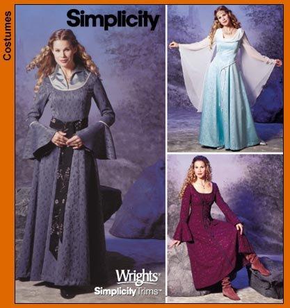 SImplicity 9891 Sew Pattern MISSES' COSTUME Renaissance, Gown, Enchantress, Princess PLUS SIZE 14-20