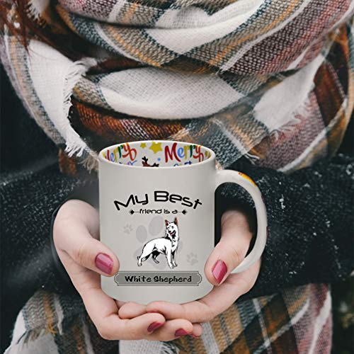 Ceramic Christmas Coffee Mug My Best Friend Is White Shepherd Dog Funny Tea Cup 7