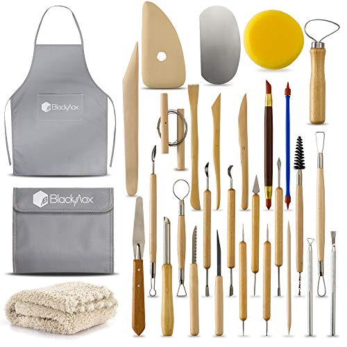 BlackyVox Pottery and Clay Sculpting Tools Double Sided Tool Set Sturdy Toolkit 28 Pcs for Polymer Clay Tools For Carving and Chipping Sculpting Tool Set for Beginner Carrying Case Artist - Mold Pottery Ceramic