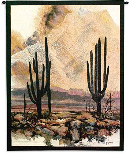 Sonoran Sentinels by Adin Shade   Woven Tapestry Wall Art Hanging   Southwestern Desert Cactus with Sunset   100% Cotton USA Size 53x40