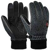 VBG VBIGER Winter Gloves Warm Knit Touchscreen Gloves Driving Motorcycle Cycling Gloves Black Work Gloves for Men Women (Large, Dark Grey)