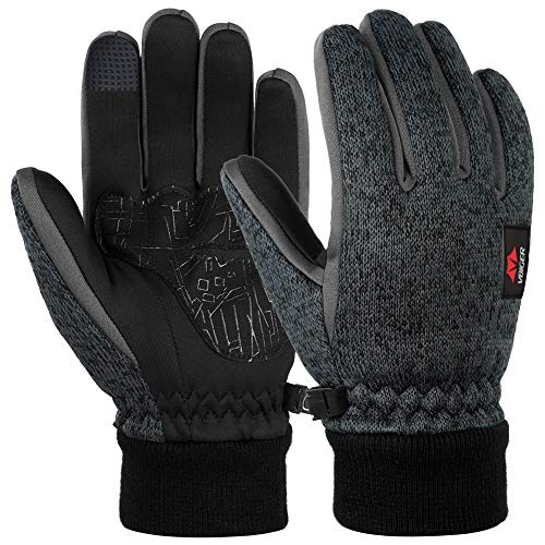 VBG VBIGER Winter Gloves Warm Knit Touchscreen Gloves Driving Motorcycle Cycling Gloves Black Work Gloves for Men Women (Large, Dark Grey)